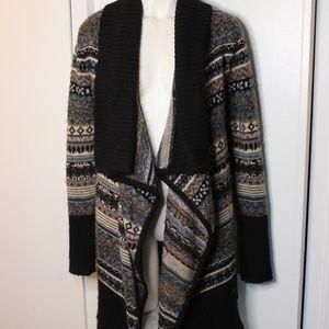 Kensie Drapey Open front Boho Cardigan Sweater S